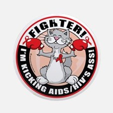 AIDS-HIV-Cat-Fighter Round Ornament