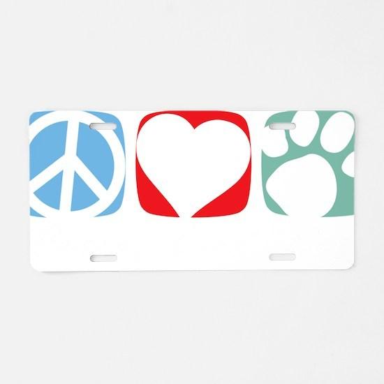Peace-Love-Dog-2009-blk Aluminum License Plate