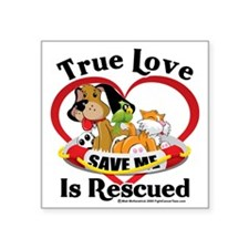 "Rescued-Love-2009 Square Sticker 3"" x 3"""