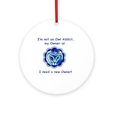 cafepress owl blue Round Ornament