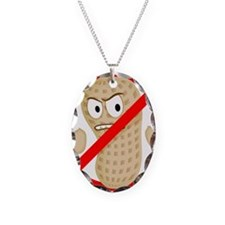 No Peanuts Food Allergy Button Necklace Oval Charm