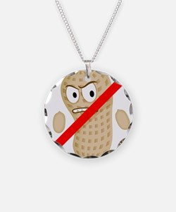 No Peanuts Food Allergy Butt Necklace Circle Charm