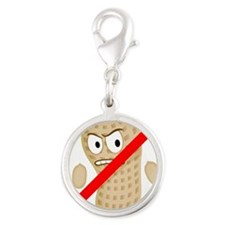No Peanuts Food Allergy Button Silver Round Charm