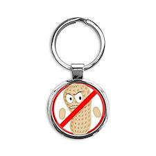 No Peanuts Food Allergy Button of K Round Keychain