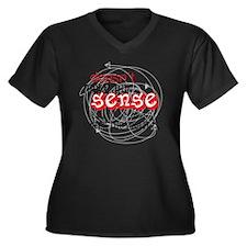sense light Women's Plus Size Dark V-Neck T-Shirt