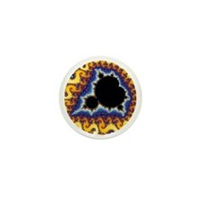 Mandelbrot round trans Mini Button