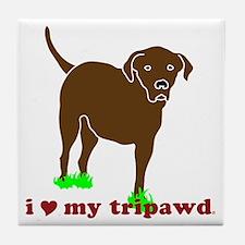 I Love My Tripawd Front Leg Lab Tile Coaster