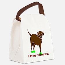 I Love My Tripawd Front Leg Lab Canvas Lunch Bag