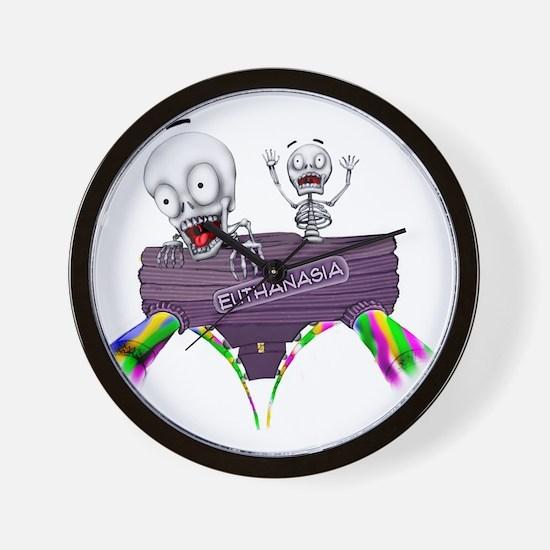 2-SkeletonRollerCoasterLOGO Wall Clock