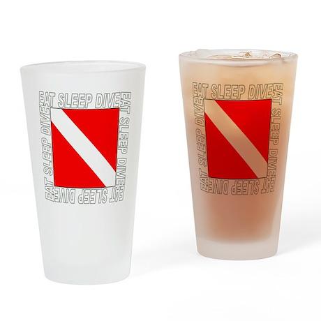 Eat_Sleep_Dive_2-M Drinking Glass
