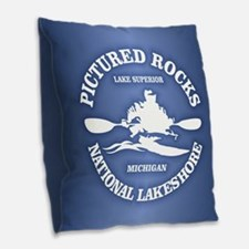 Pictured Rocks (rd) Burlap Throw Pillow