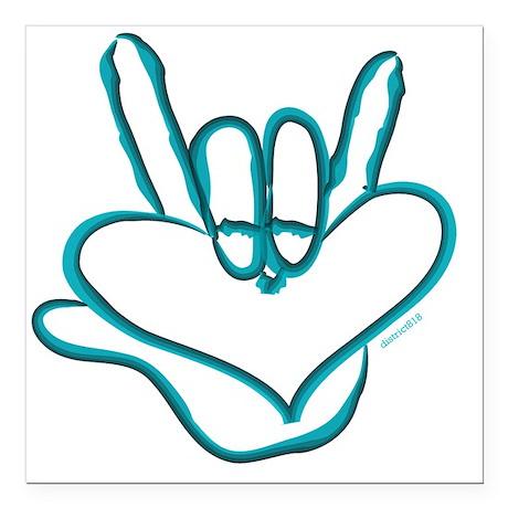 "i_love_you_ASL_blue Square Car Magnet 3"" x 3"""