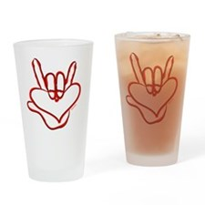 i_love_you_ASL_red Drinking Glass