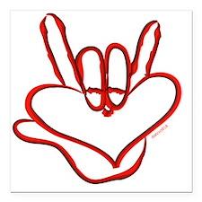 "i_love_you_ASL_red Square Car Magnet 3"" x 3"""