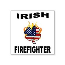 "Irish Firefighter Square Sticker 3"" x 3"""
