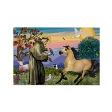 St. Francis & Buckskin horse Rectangle Magnet