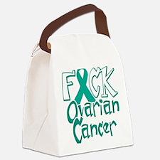 Fuck-Ovarian-Cancer-blk Canvas Lunch Bag