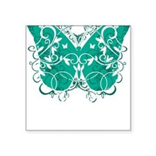 "Ovarian-Cancer-Butterfly-bl Square Sticker 3"" x 3"""