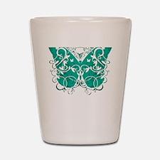 Ovarian-Cancer-Butterfly-blk Shot Glass
