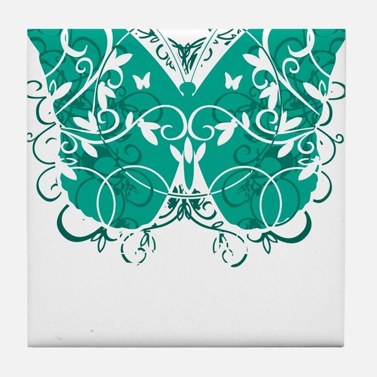 Ovarian-Cancer-Butterfly-blk Tile Coaster