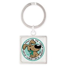 Paws-for-the-Cure-Ovarian Square Keychain
