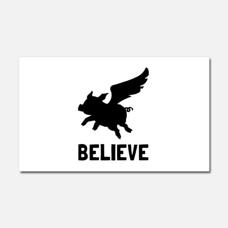 Flying Pig Believe Car Magnet 20 x 12
