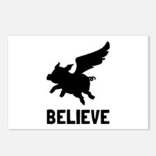 Flying Pig Believe Postcards (Package of 8)