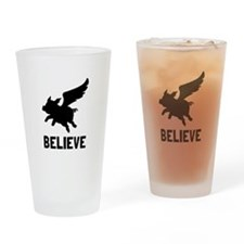 Flying Pig Believe Drinking Glass