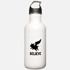 Flying Pig Believe Water Bottle