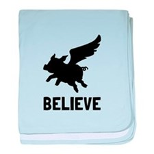 Flying Pig Believe baby blanket