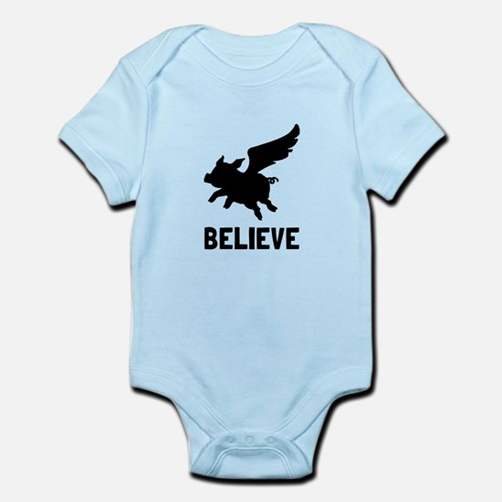 Flying Pig Believe Body Suit