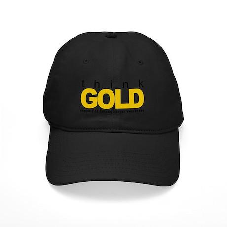 Childhood-Cancr-Think-GOLD Black Cap