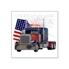 "2-Am_Dark_Peterbilt_CP Square Sticker 3"" x 3"""
