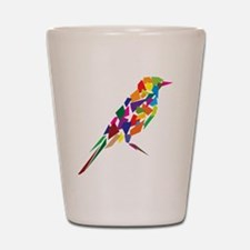 Abstract Colorful Bird Shot Glass