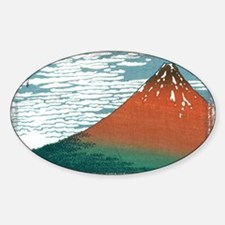 Hokusai33_redfuji (framed with ArtE Sticker (Oval)