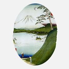 Mt. Fuji Seen From a Lake 1858 Hiros Oval Ornament