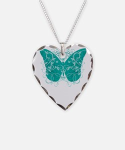 Cervical-Cancer-Butterfly-blk Necklace Heart Charm