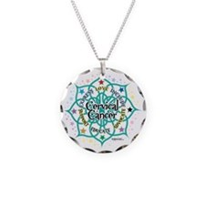 Cervical-Cancer-Lotus Necklace Circle Charm