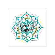 "Cervical-Cancer-Lotus Square Sticker 3"" x 3"""
