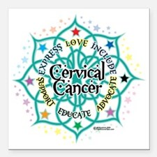 "Cervical-Cancer-Lotus Square Car Magnet 3"" x 3"""
