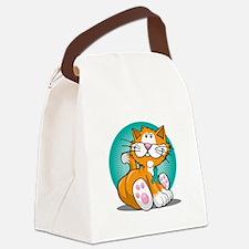 Cervical-Cancer-Cat-blk Canvas Lunch Bag