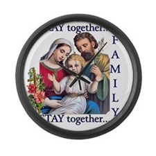 pray_together_12x12-clear Large Wall Clock