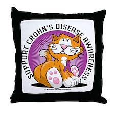 Crohns-Disease-Cat Throw Pillow