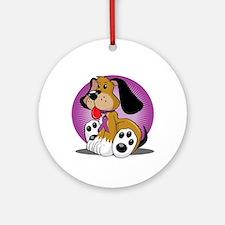 Crohns-Disease-Dog-blk Round Ornament