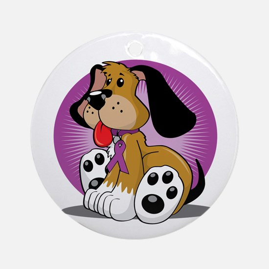 Crohns-Disease-Dog-blk Round Ornament