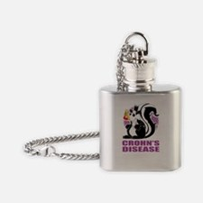 Crohns-Disease-Stinks-blk Flask Necklace