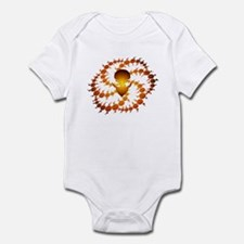 Orange Crop Circle with Alien Face Infant Bodysuit