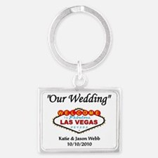 3-2010 our wedding template Landscape Keychain