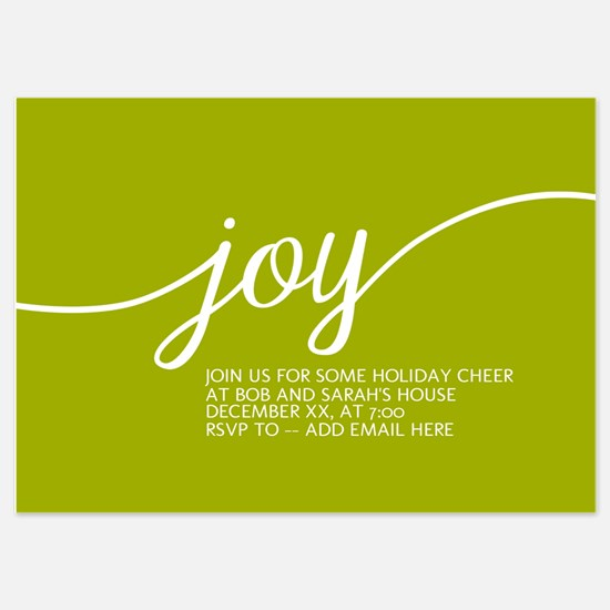 Joy Holiday Lime Green Invitations