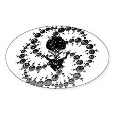 Black Crop Circle with Alien Face Oval Decal